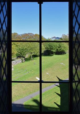 View from St Davids Cathedral library through feramenta